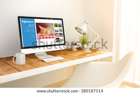 3d generated minimalist workspace with influencer profile on screen computer and copyspace. 3d illustration. all screen graphics are made up. - stock photo