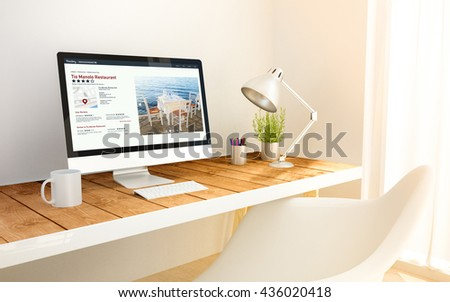 3d generated minimalist workspace with online directory computer screen computer and copyspace. 3d rendering. all screen graphics are made up. - stock photo