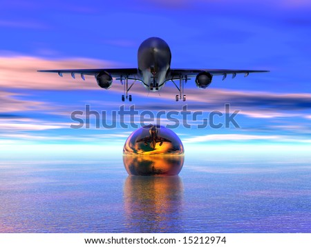 3D generation on a theme air travel - stock photo