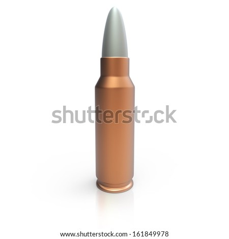 3d generic cooper bullet on white background