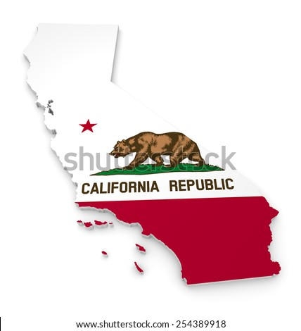 3D geographic outline map of California with the state flag - stock photo