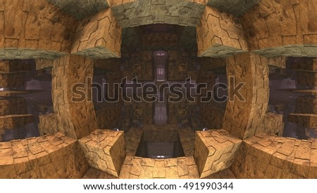 3D geometric background, 3D Labyrinth or Maze