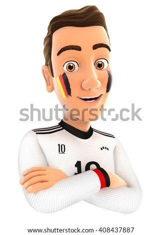 3d german soccer fan with arms crossed, illustration with isolated white background