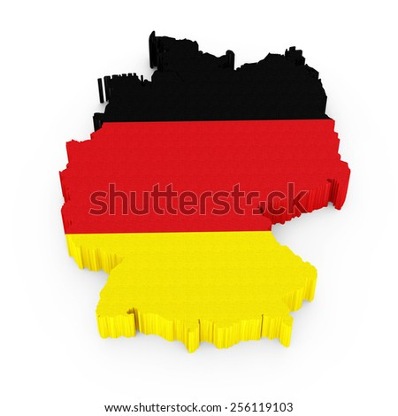 3D Germany map with German flag isolated on white background