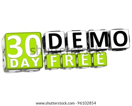 3D Get 30 Day Demo Free Block Letters over white background - stock photo