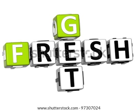 3D Get Fresh Crossword text on white background - stock photo