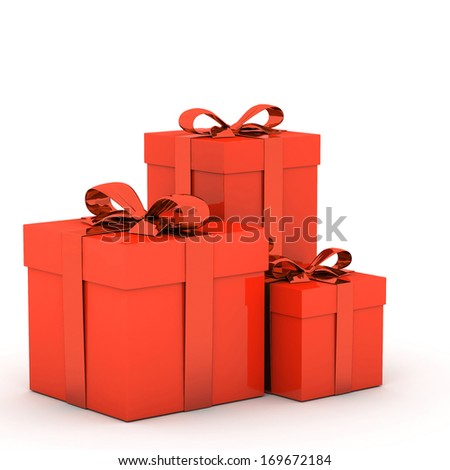 3d Gift box and ribbon