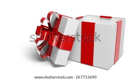 3D. Gift, Box, Christmas. - stock photo