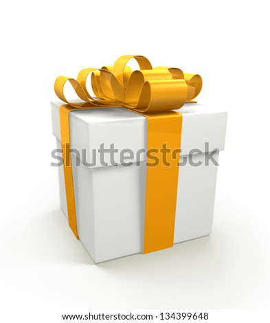 3d Gift Box isolated on white background - stock photo