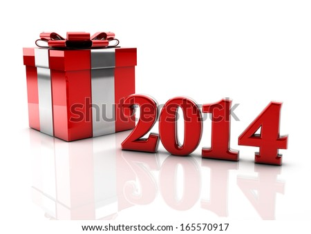 3d 2014 gift box on white background