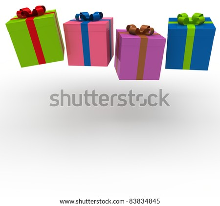 3d gift box red green blue pink celebration - stock photo