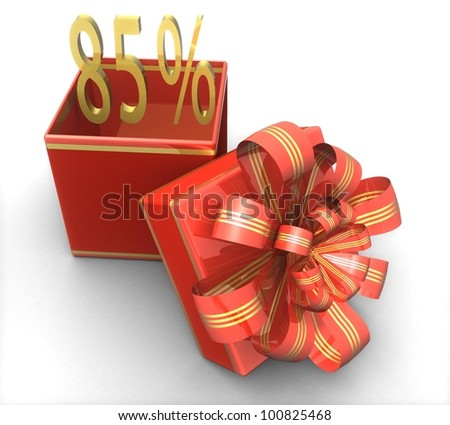 3d gift box with a sign 85% discount on a white background isolated
