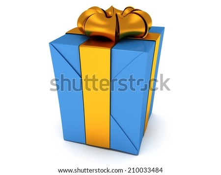 3D Gift box with gold ribbon bow isolated on white background