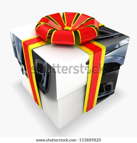 3d gift box with texture - stock photo