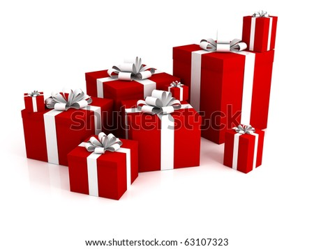 3D gift boxes isolated on a white background. Red box. White ribbon