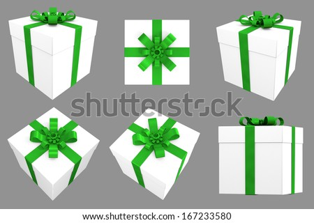 3D Gift. White Box with Green Satin Ribbon. Multiple Angles / Views  - stock photo