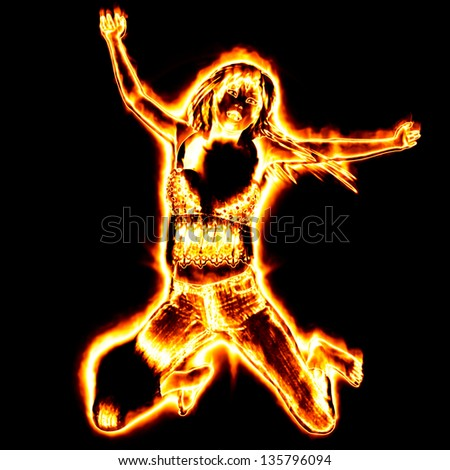 3d girl from fire dancing on black background. - stock photo
