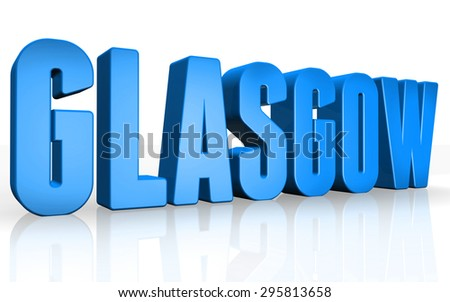 3D Glasgow text on white background