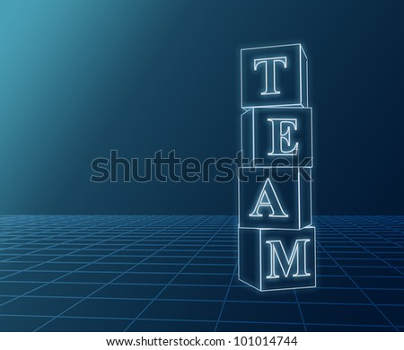 3d glass boxes with text team over blue - stock photo