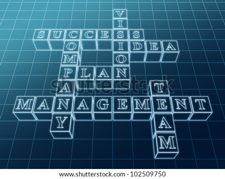3d glass crossword from boxes over blue with business words - success; plan; idea; company; vision; management; team - stock photo