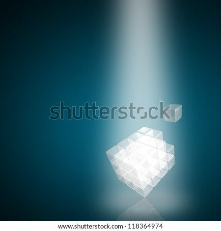 3d glass cube  made of block on blue background - stock photo