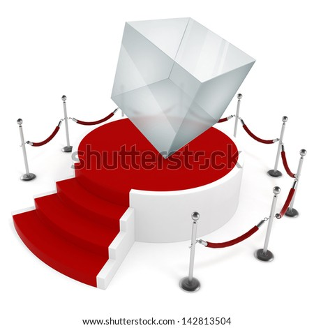 3d glass cube on podium and red carpet, new product concept - stock photo