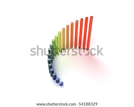 3d glass graph showing rise in profits or earnings - stock photo