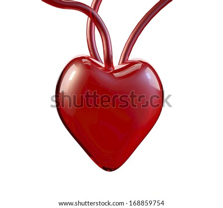 3D glass red heart isolated on white, Valentine`s or love theme designs  - stock photo