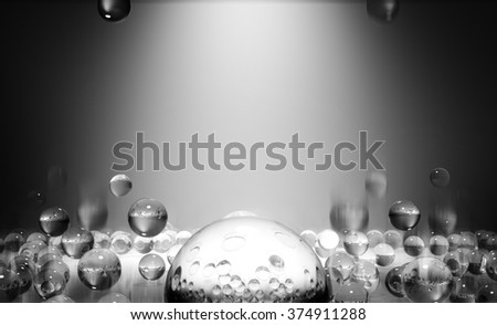 3d glass spheres scattered on the surface. Abstract background. - stock photo