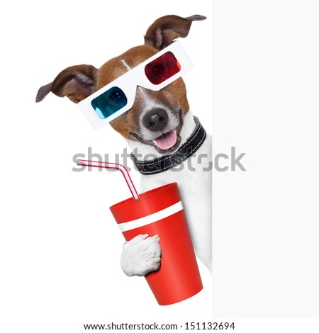3d glasses dog with coke with side banner - stock photo