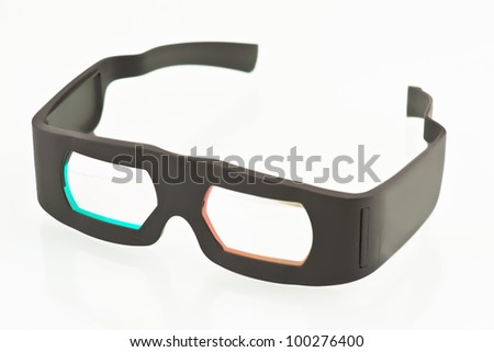 3-D glasses, DOLBY system. Technology currently used for watching 3-D films - stock photo