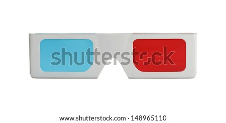 3-D Glasses form the front view Isolated on White Background. - stock photo