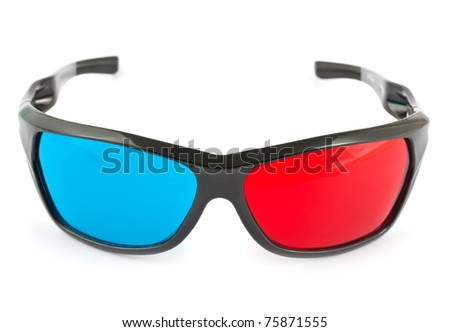 3d glasses in red and blue isolated on white background - stock photo