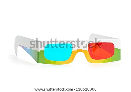 3d glasses isolated on a white background - stock photo