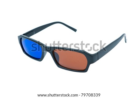 3d glasses isolated on white background. Anaglyphic blue and brown glasses.
