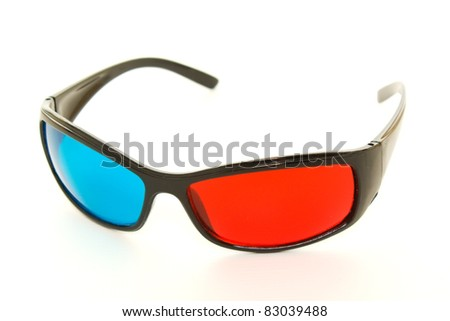 3-D Glasses on a White Background - stock photo