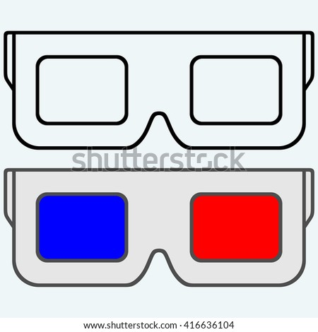 3-D Glasses, symbol. Isolated on blue background. Raster version - stock photo