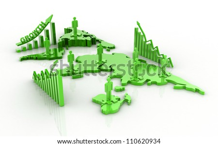 3d Global business network and business graph - stock photo
