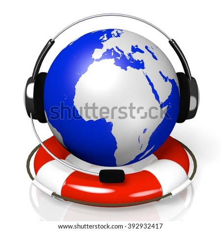 3D global call center - headset and rescue wheel concept.