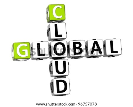 3D Global Cloud Job Crossword cube words on white background - stock photo