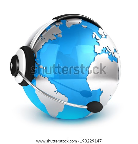 3d global communication concept, isolated white background, 3d image