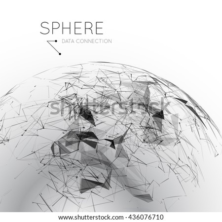 3d global communication in the sphere form. Stylized planet. - stock photo