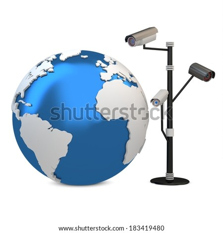 3d global video surveillance cameras on white background - stock photo