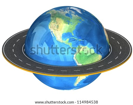 3d Globe and road around it. Elements of this image furnished by NASA.