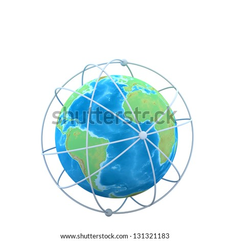 3d globe connections network design (Elements of this image furnished by NASA)