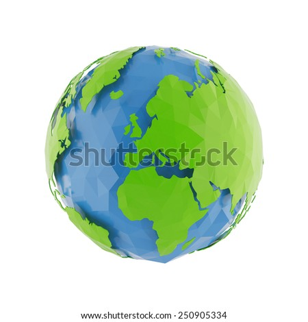 3d Globe Earth icon of the world in abstract triangle style on white background. Lowpoly stylized.