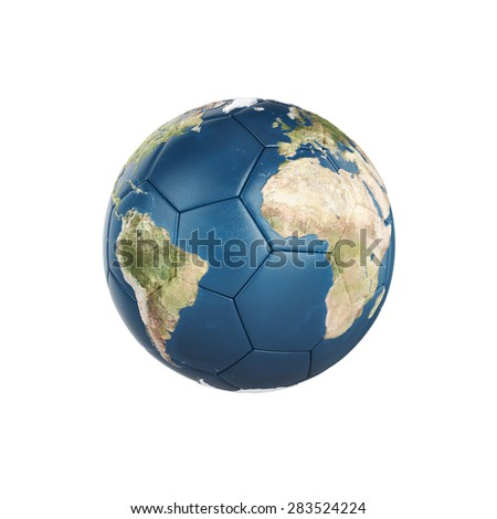 3d globe Earth texture on soccer ball isolated on white background. Elements of this image furnished by NASA - stock photo