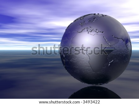 3D Globe: Europe, Middle East, Africa - stock photo