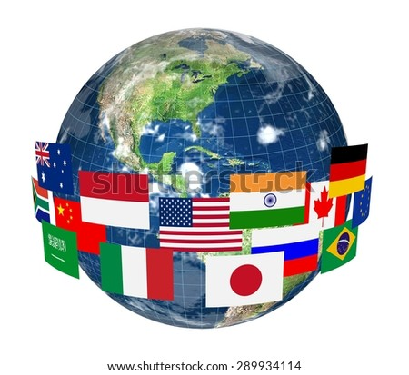 3D. Globe, Global Communications, Planet. Elements of this image furnished by NASA. - stock photo