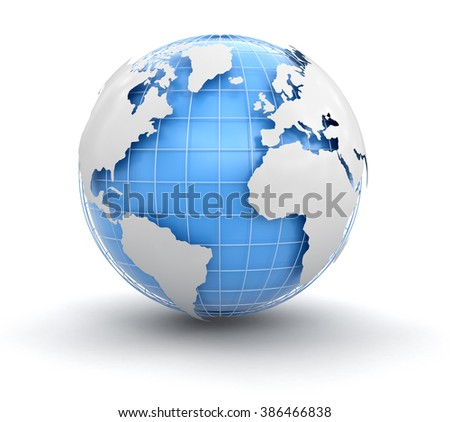 3d Globe. Image with clipping path Elements of this image furnished by NASA - stock photo